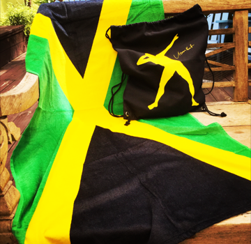 Jamaican Flag Beach Towel - $1560; Usain Bolt Bag - $1560 My Jamaica