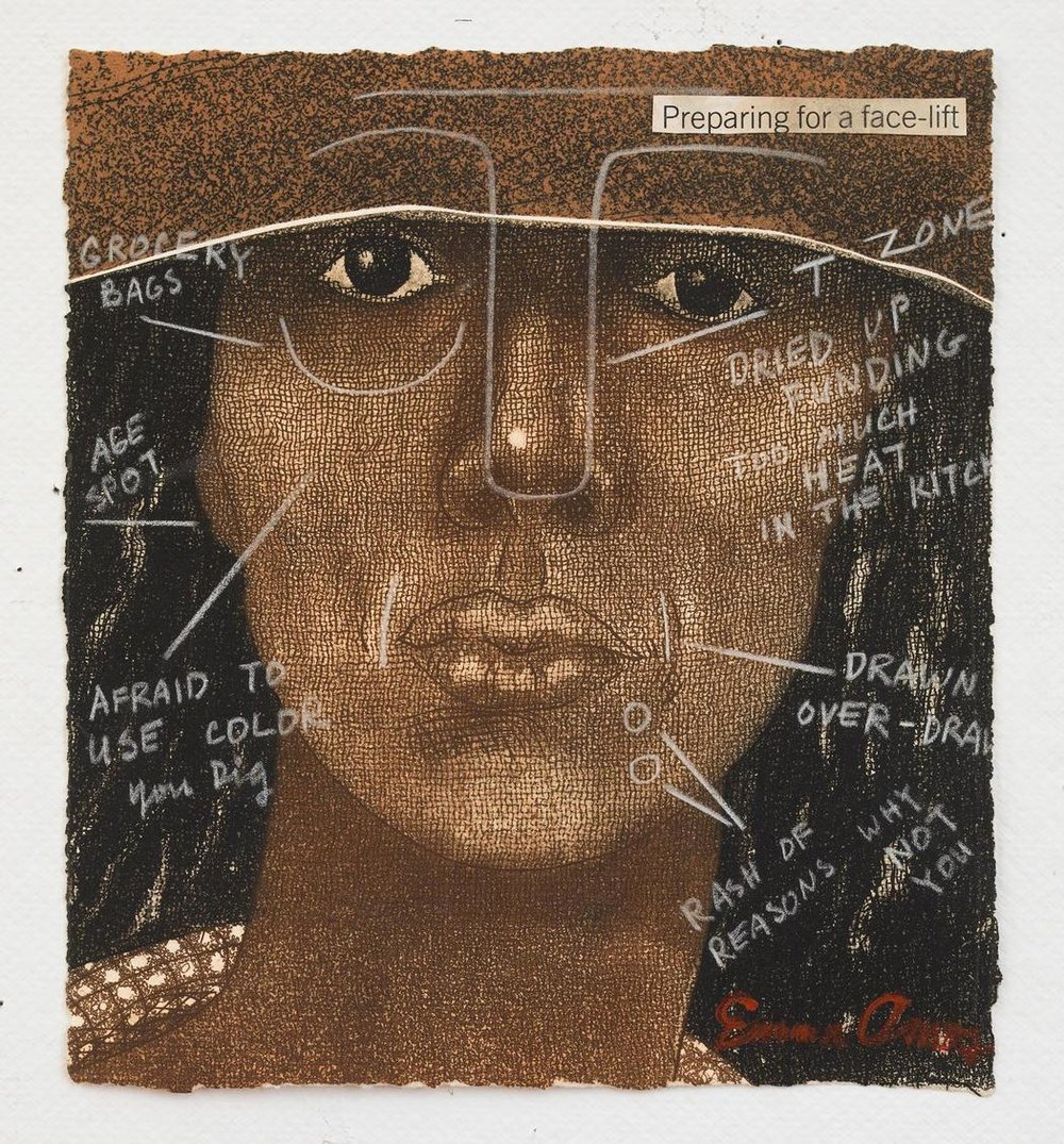 Emma Amos (American, born 1938). Preparing for a Face Lift, 1981. Etching and crayon. - Emma Amos was involved with multiple groups working at the intersection of art and activism throughout her career that are featured in the exhibition. She was the youngest member – and only woman – of the New York collective Spiral which was active in the mid 1960s and assembled as a support and networking group for black artists interested in social change.