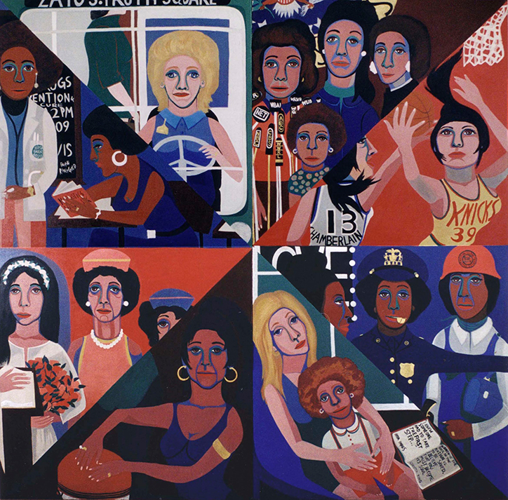 Faith Ringgold (American, born 1930). For the W omen–s House, 1971. Oil on canvas. - From organising protests against race and gender discrimination at the Whitney Museum to burning the American flag as part of the Judson Three, Faith Ringgold appears throughout the exhibition as one of the main figures leading art world activism in the 1960s–80s.