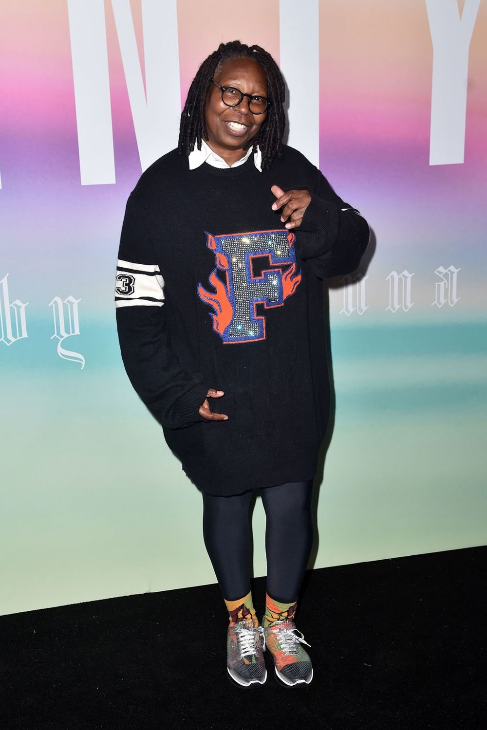 #1The Front Row - Alongside Rihanna's fellow artists Cardi B and Diplo, Whoopi Goldberg took a front row-view of the motorcross spectacle. Just as the model line-up was a celebration of diversity, the FROW proved that when it comes to wearing Fenty x Puma, everyone looks sassy. Shout out to Goldberg's socks too.