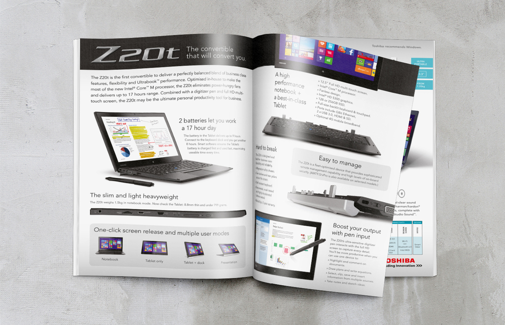 Toshiba business range brochure design feature spread
