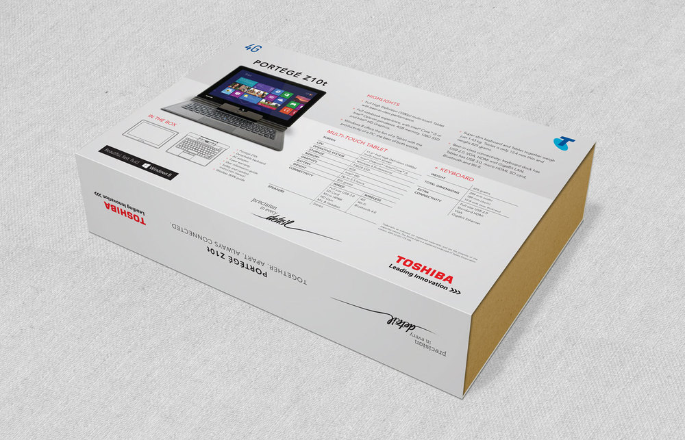 Toshiba packaging Z10t notebook tablet testra