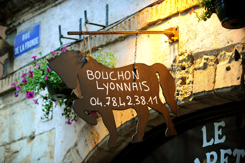 Lyon, ranska, ravintolan kyltti