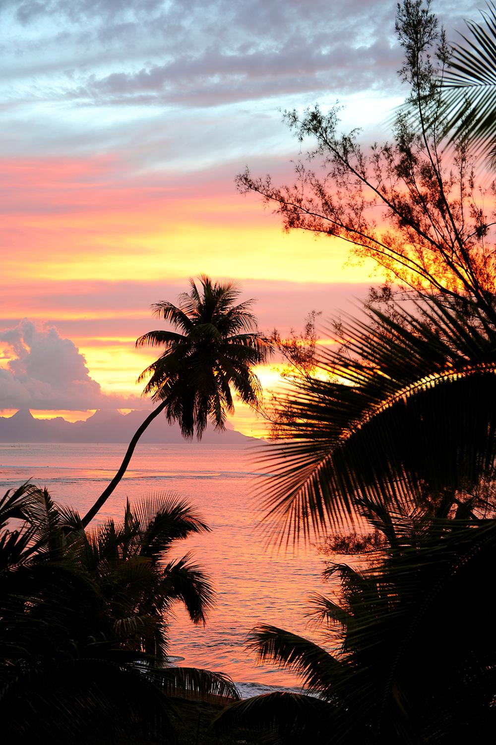 Auringonlasku, Tahiti, Polynesia, Tyyni Valtameri, paratiisi, matkablogi, blogi, matka