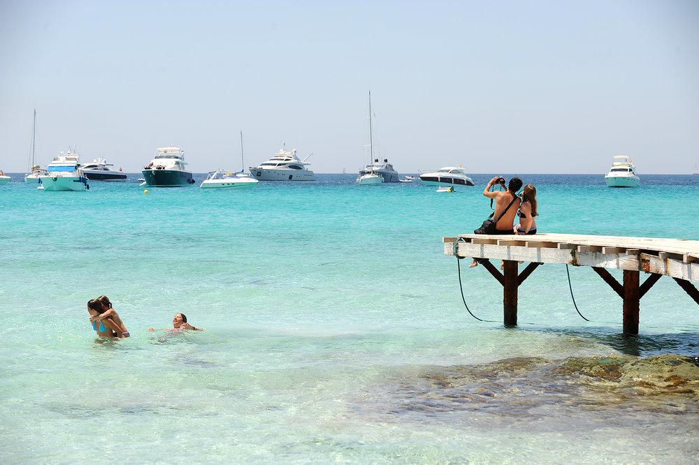 Laituri, Espanja, Formentera, meri, paratiisi, ranta, turisti