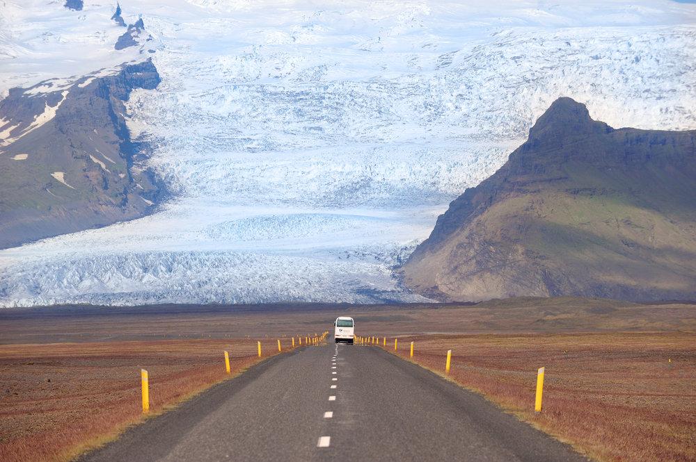 Islanti, jäätikkö, automatka, luonto, tie