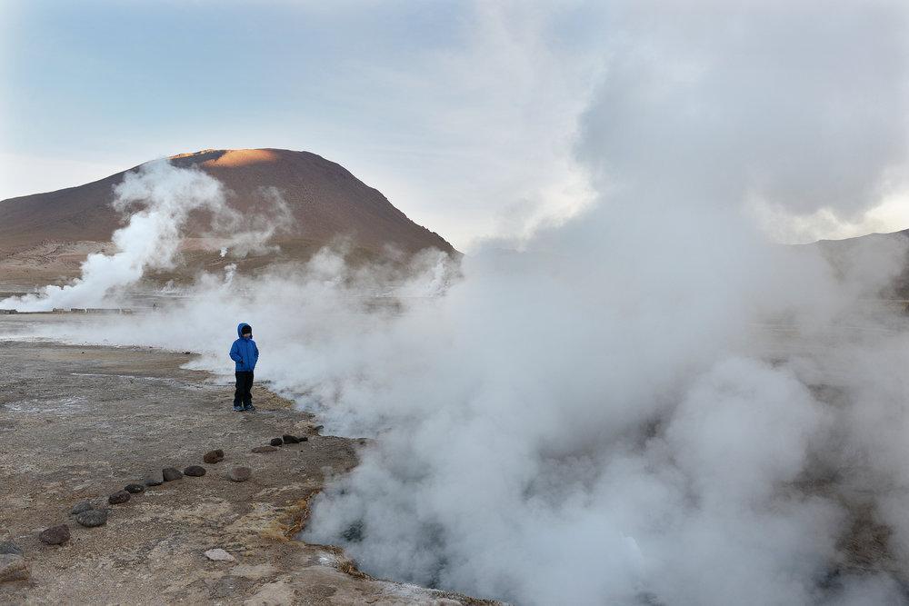 Geysir, Chile, Atacama, lapsi matkustaa