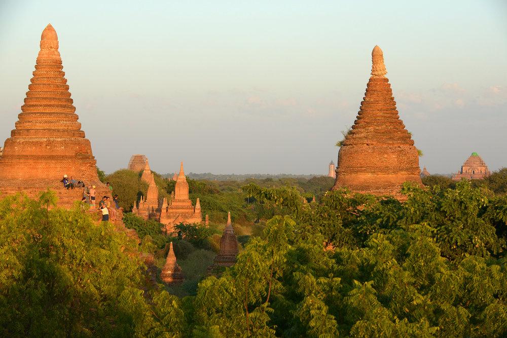 Burma, Myanmar, temppeli, auringonlasku