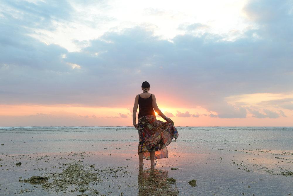 Auringonlasku, ranta, meri