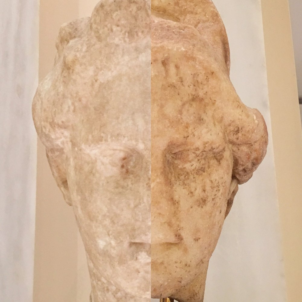 Marble head of Dionysos (from Piraeus, late 4th c. BC) / Marble head of Athena with Corinthian helmet (reign of Hadrian)