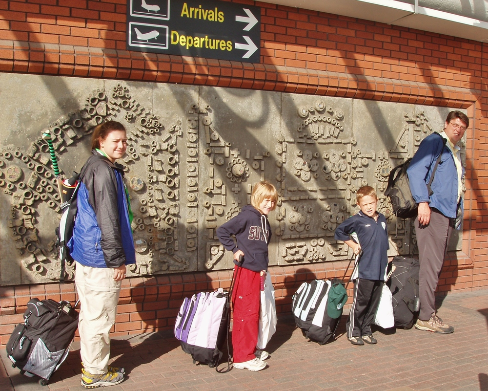 Liesl (left), me (middle), Jens (second from the right), and Dad setting off for Ireland! (2005)