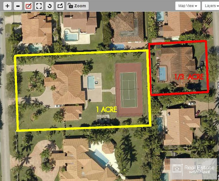 One Lot Size Is An Acre Outlined In Yellow And The Other Is 1 3 Of An Acre In Size Outlined In Red See Below