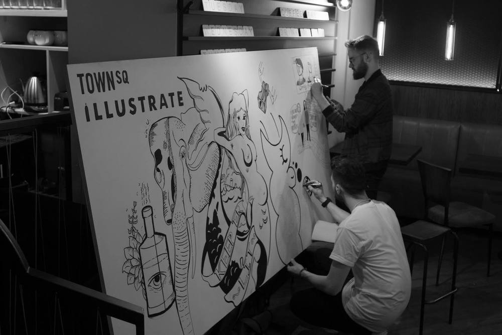 Still from recent event, Illustrate at   Town Square,   Belfast.