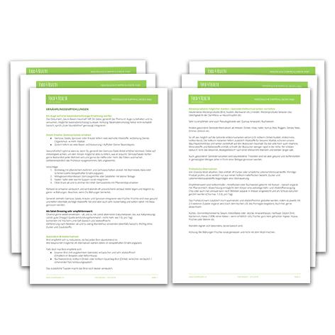Begründete Empfehlungen zur Zielerreichung. Falls nötig spezielle Infoblätter (Säure-/Basenhaushalt etc.)