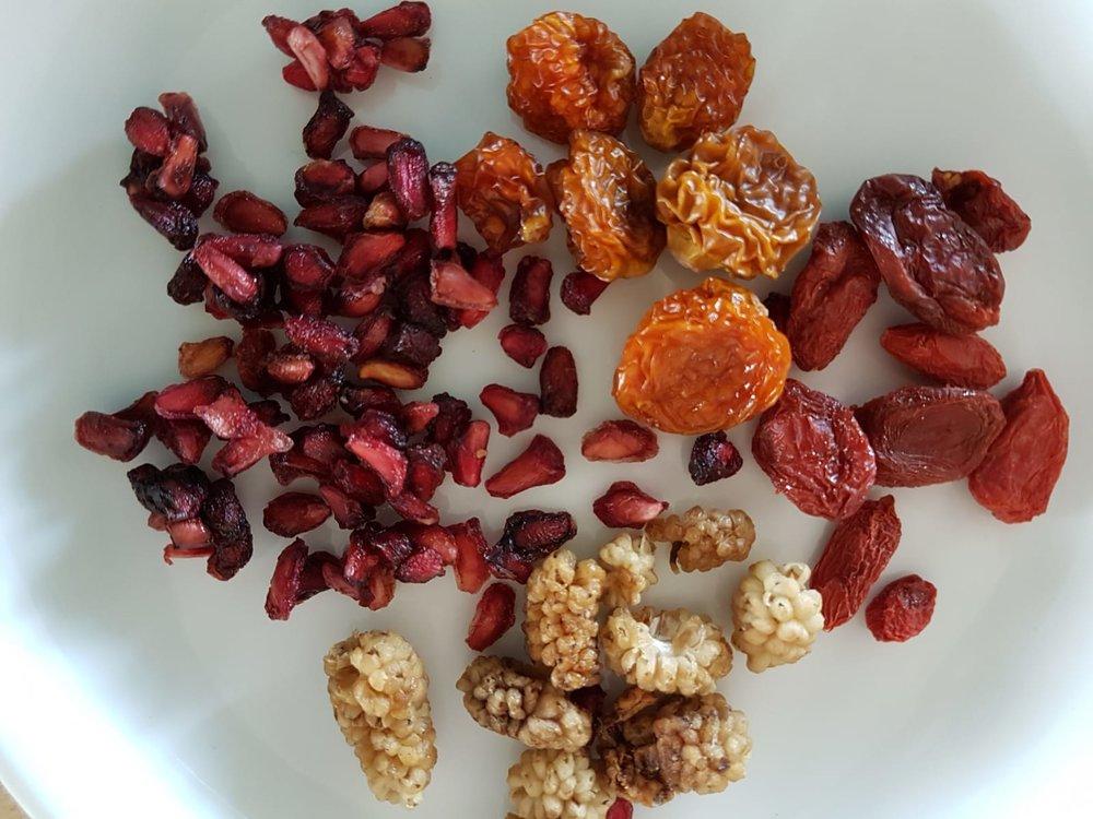 Etwas Getrocknete Granatapfel-Kerne, Berberitzen, Maulbeeren, Physalis oder Gojibeeren