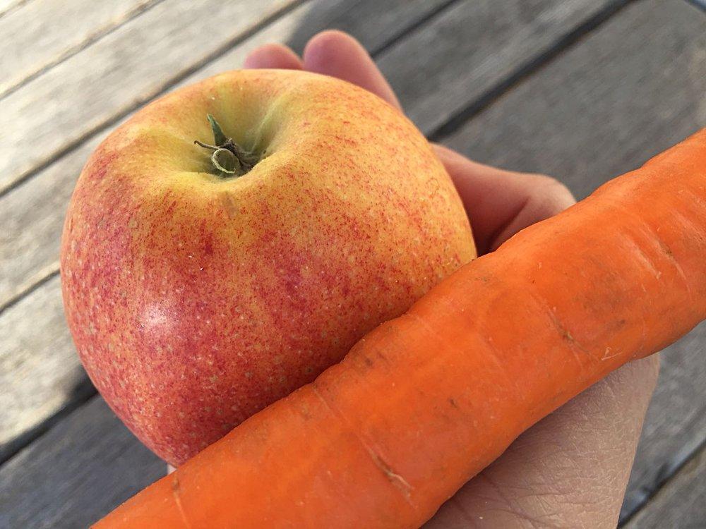 Ein Stück reifes Obst oder eine ganze Karotte etc.