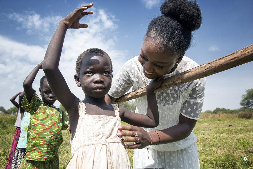 Michaela DePrince visits Bidibidi refugee settlement, Uganda