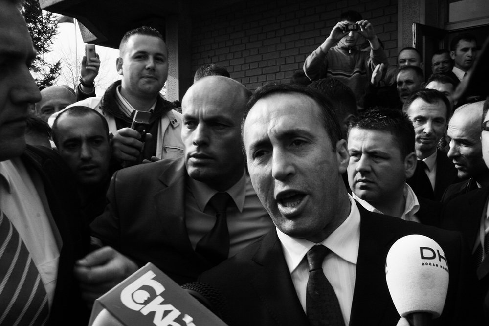 Former Kosovar prime-minister Ramush Haradinaj arrives in Pristina the day after he was found not guilty on war crimes and crimes against humanity.