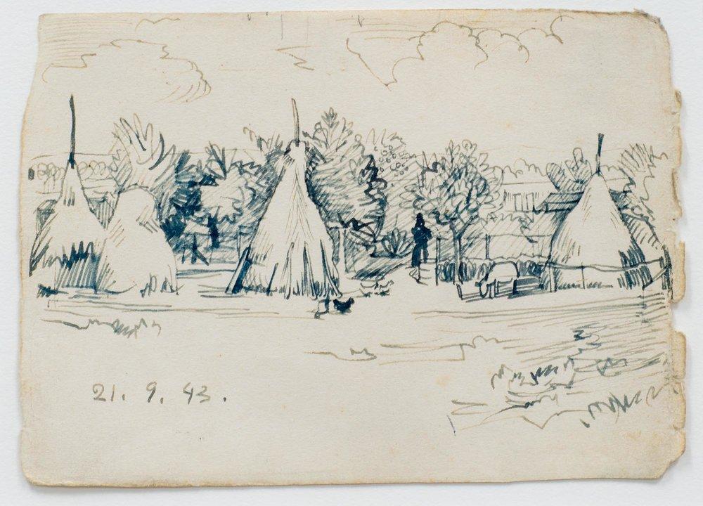 - o.T., Federzeichnung auf Papier, 1943, 15,0 x 10,7 cm