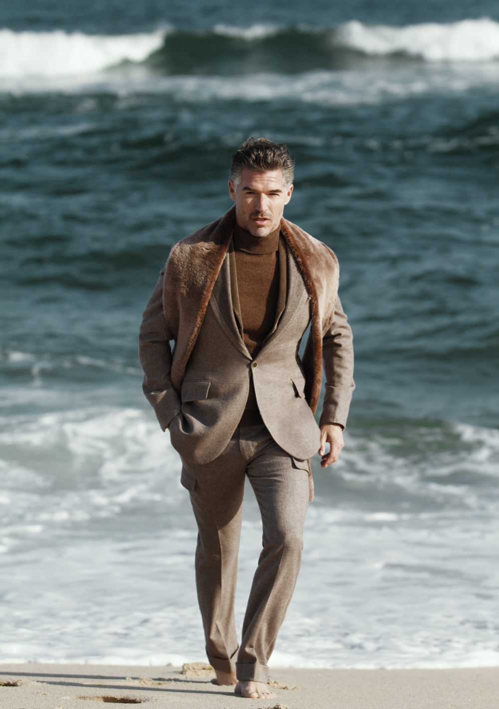 Suit & Sweater  JOSEPH ABBOUD   Fur Collar  STEPHEN F