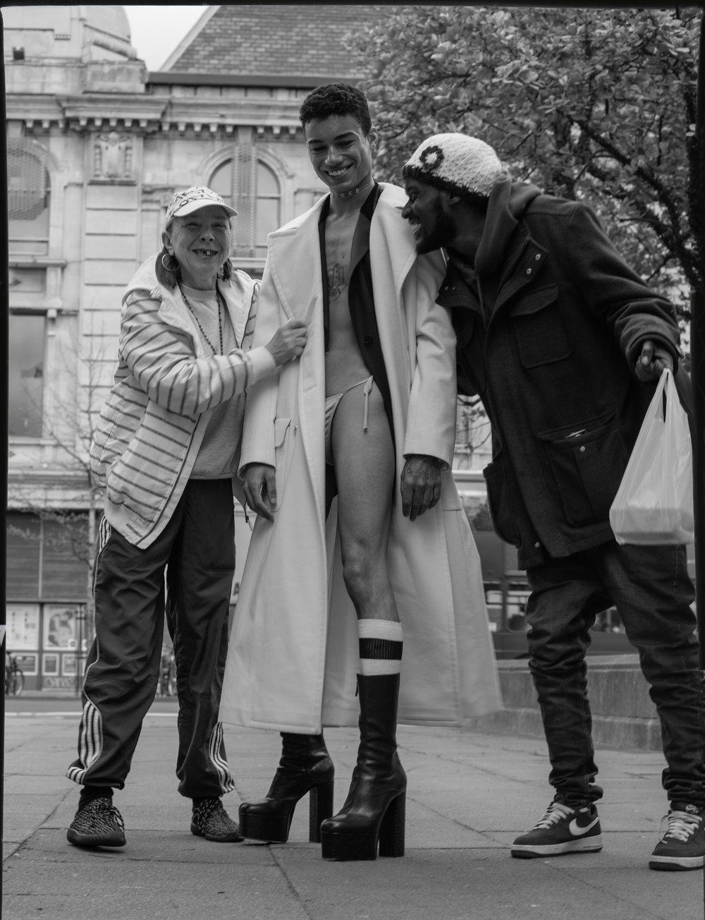 overcoat   CHANEL   |   blazer   MM6 |   boots   DSQUARED |   briefs   MENAGERIE |   socks   BARCODE BERLIN|   chain  DIXIEGRAZE