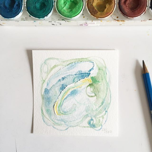 Watercolor, acrylic, and pastel on paper. Day 20/100 of #the100dayproject . . Like the sea and waves, We ebb and flow, Together and apart.  We are afraid of syncing - too much.  Because.  Control issues.  Let's try though, Letting go.  Falling in line with one another,  To dance for a bit.  And honor the rhythm Of body and mind. . . I've been reading and thinking a lot about my yoga practice - both internal and physical - and where it's going. I'm feeling like it's time to push harder and explore more, but I'm trying to find that balance. #limnhouse100days #abstractart #mixedmedia