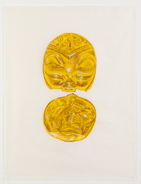 "Astrid Ho,  Year-of-the-Pig Candy Dish (Yellow Gold) , 2010, lithograph on Kiraku Kozo paper, 26"" x 19.5""."