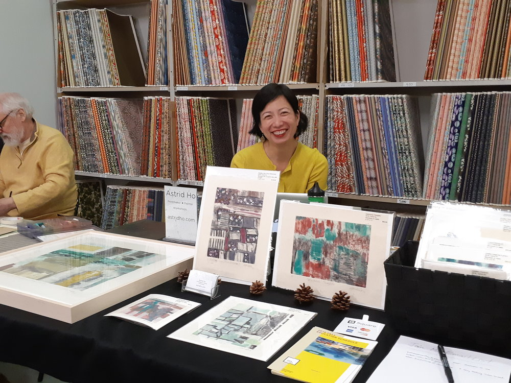Me and my new prints at the Annual Washi Artists Sale at  The Japanese Paper Place . Photo courtesy of  Dominique Prévost .