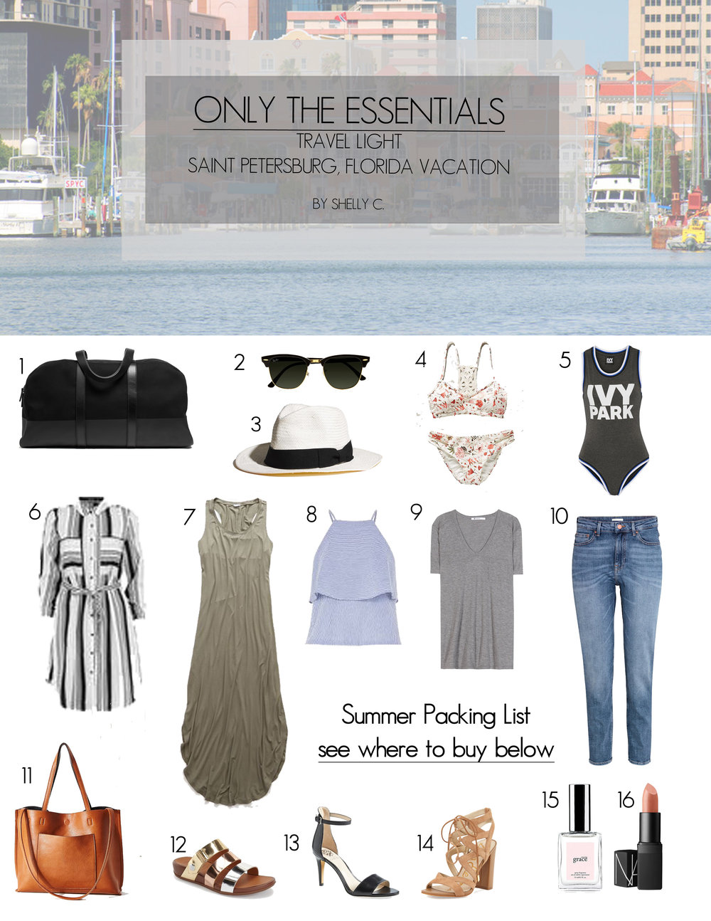 BUY HERE:: 1.  EVERLANE  2.  RAY-BAN  3.  MADEWELL  4.  L*SPACE  5.  NET-A-PORTER  6.  BOOHOO  7.  AMERICAN EAGLE  8.  SHOPBOP  9. ALEXANDER WANG  10.  H&M  11.  URBAN OUTFITTERS  12.  NORDSTROM  13.  VINCE CAMUTO  14.  SAM EDELMAN  15.  PHILOSOPHY   16.  NARS