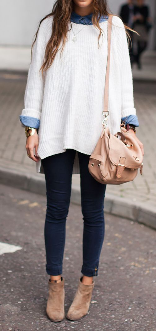 2. Oversized Layers On Top + Skin Tight Pants