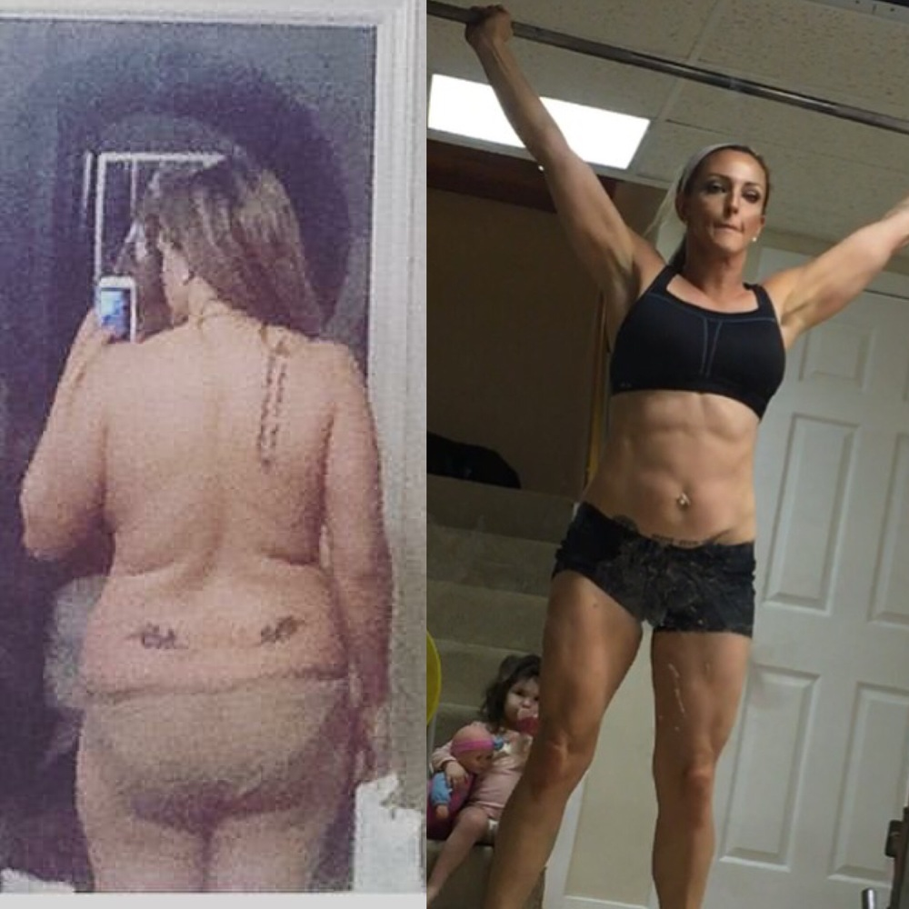 Coach Mariah, a self-professed slug, lost over 75 lbs in 6 months, only working out 2-3 days per week with her 2 year-old, 1 year-old, and black lab named Belle all piled on top of her