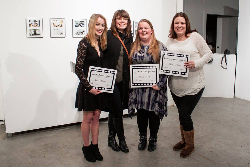 From left to right, winners Morgan Richards, juror Jessica Beck, Nicole Fritz, and Kaylin Herzer  Photo by Dominique Hildebrand