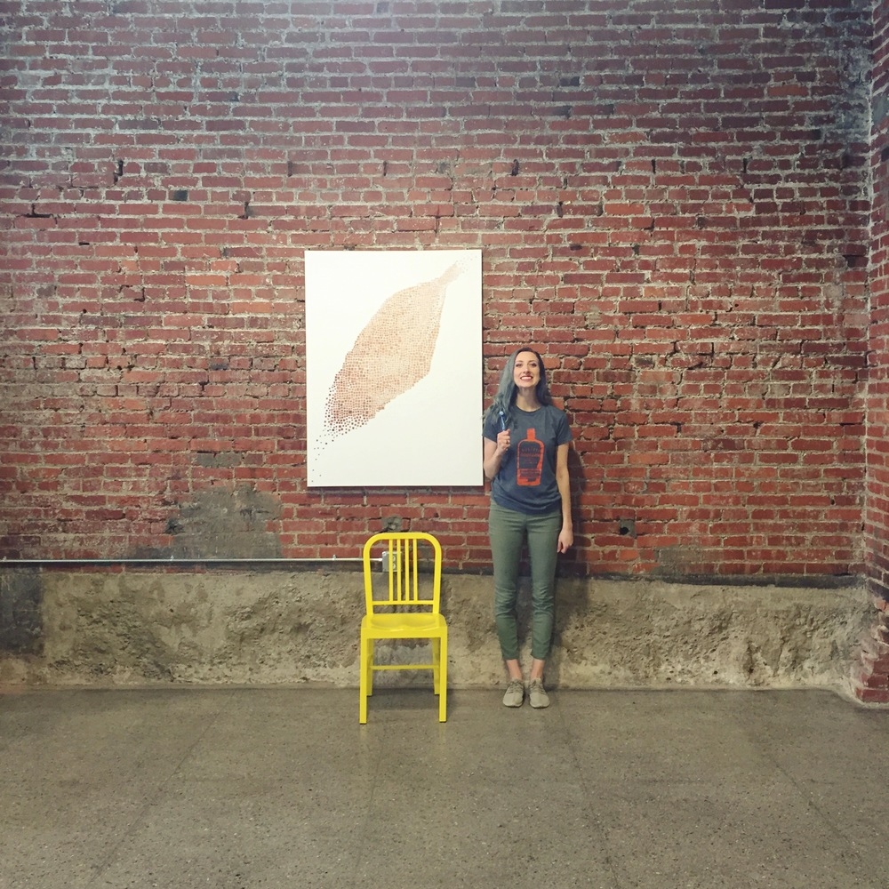 My awesome bud, Michelle Montana, after hanging this 5 foot beast. We hung a show in this space in October, so it was a great experience to be in it again.