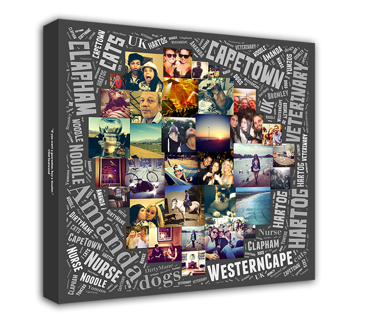 Word Art Collage - The perfect gift, combine words and photos to make a stunning and unique work of art.