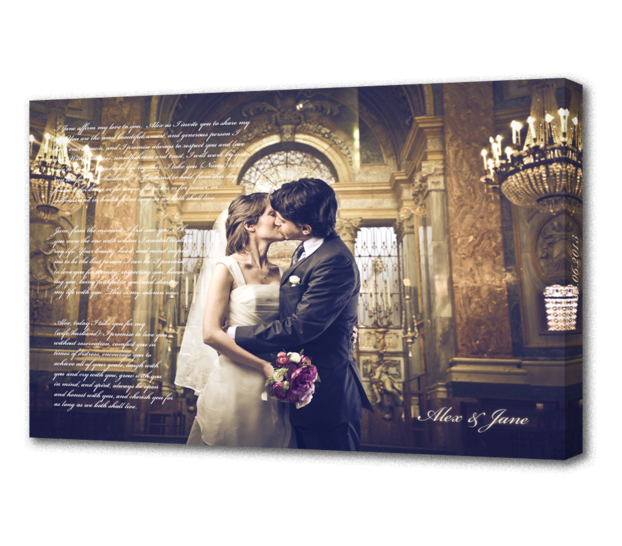 Personalized Photo with Text - A great way to put your wedding photo and wedding vows or best man speech together into a stunning peice of art.