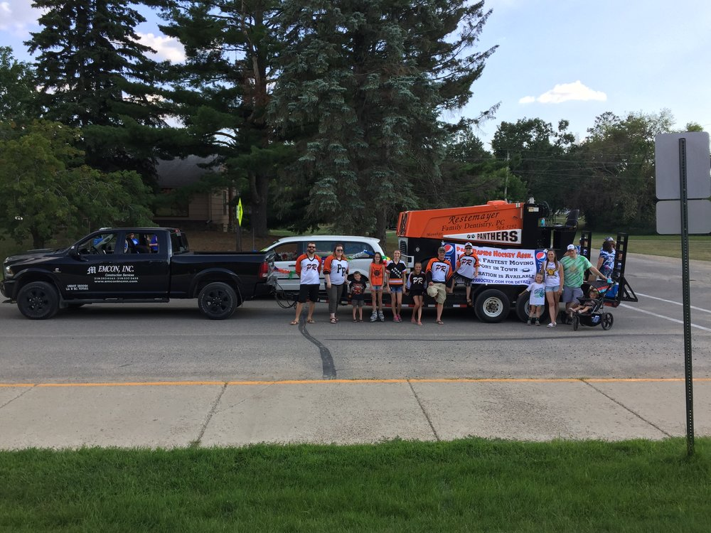 Parade day July 29th 2017, EMCON, INC. pulling the Park Rapids Hockey Association Zamboni in the Nevis Muskie Days Parade.