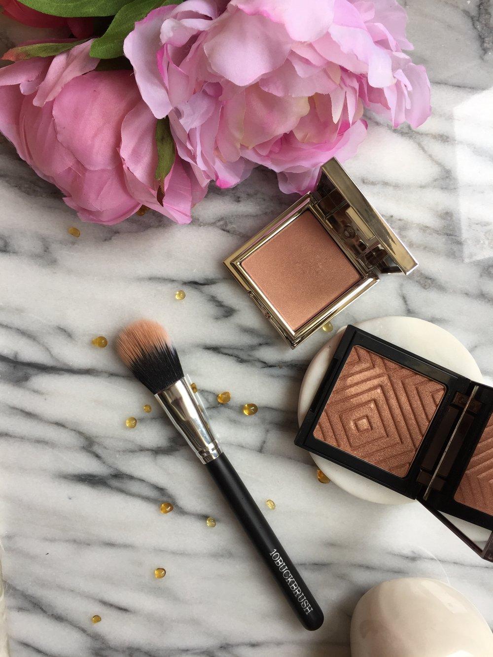 Makeup Geek Fireworks Highlighter and Jouer Rose Gold and Hanna Stippling Brush