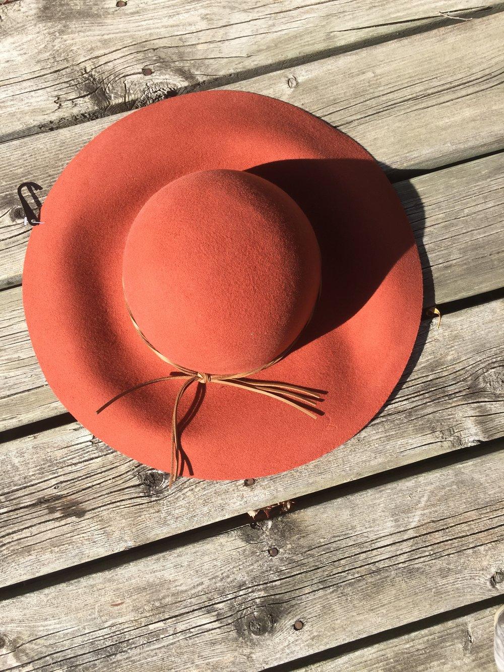 rust orange wide floppy hat