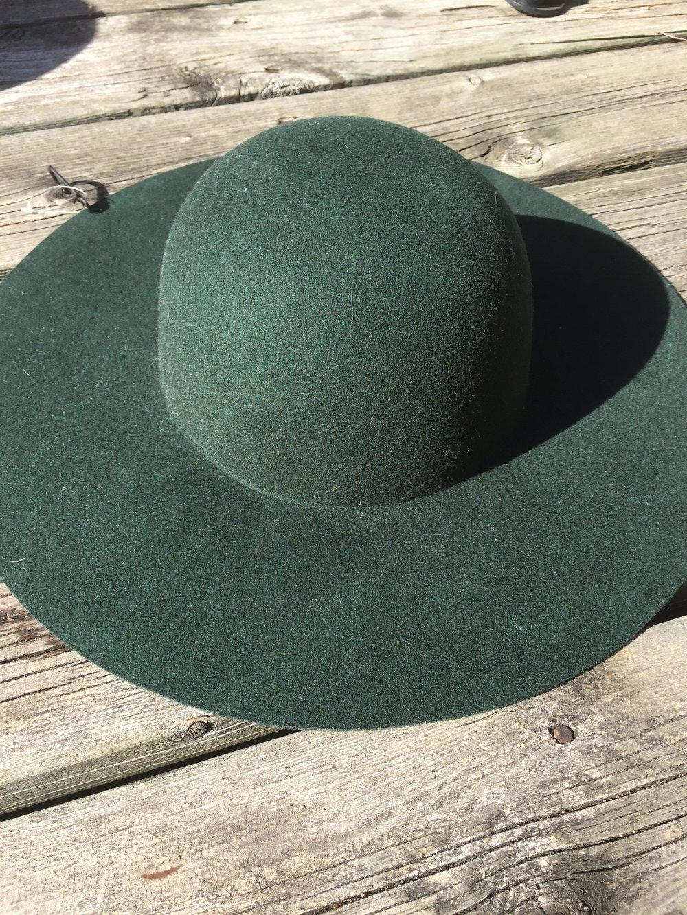 Hunter Green Wide Brim Hat