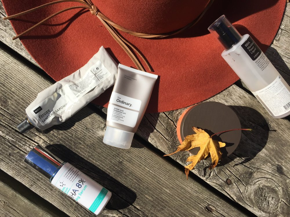 The Ordinary Azelaic Acid, Mizon AHA and Cosrx BHA, NIOD Sanskrit Saponins and Goodal Brightening Sleep Mask
