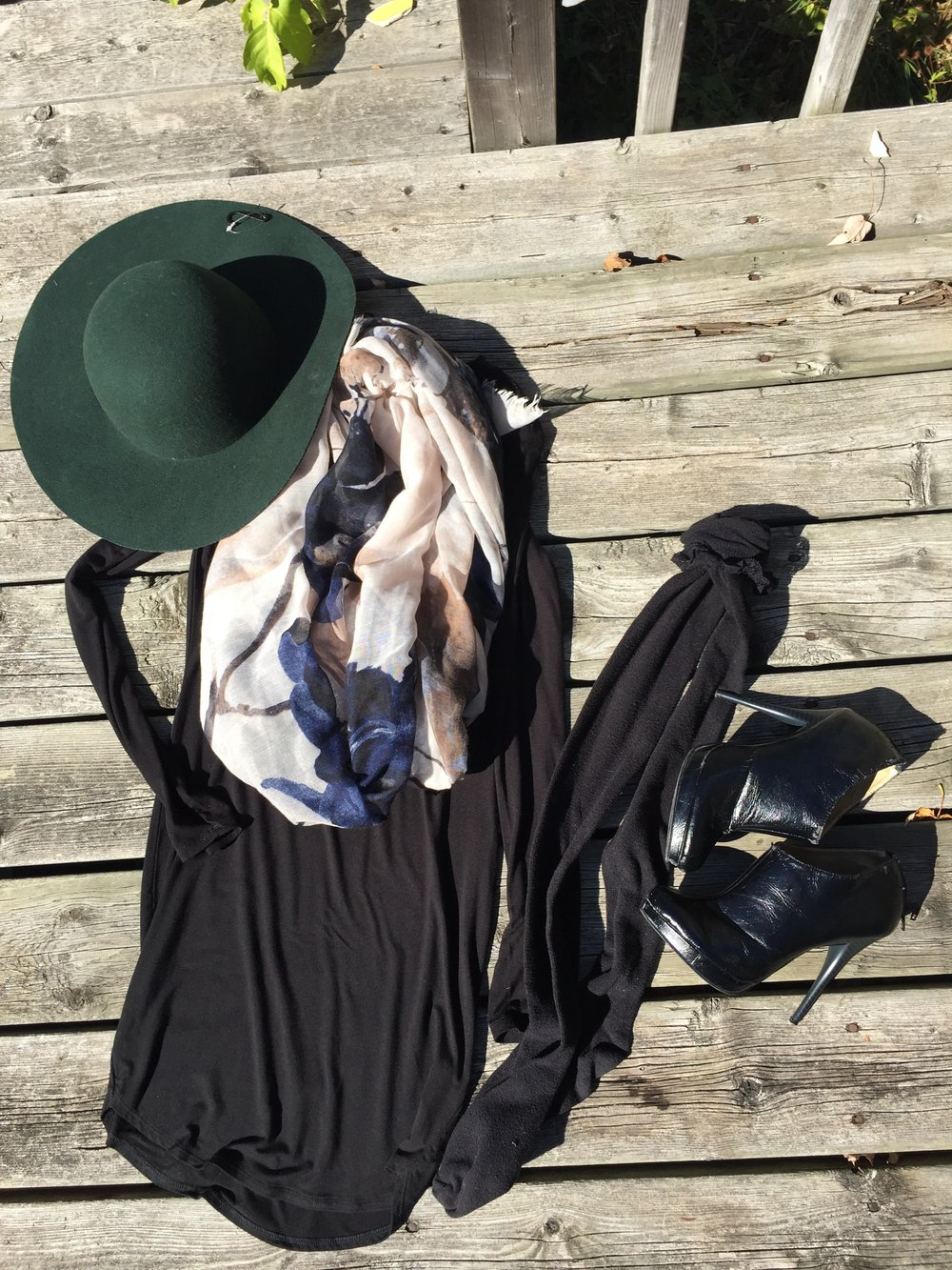 Black Long Sleeve Dress with knee high socks, black booties, a scarf and hunter green floppy hat