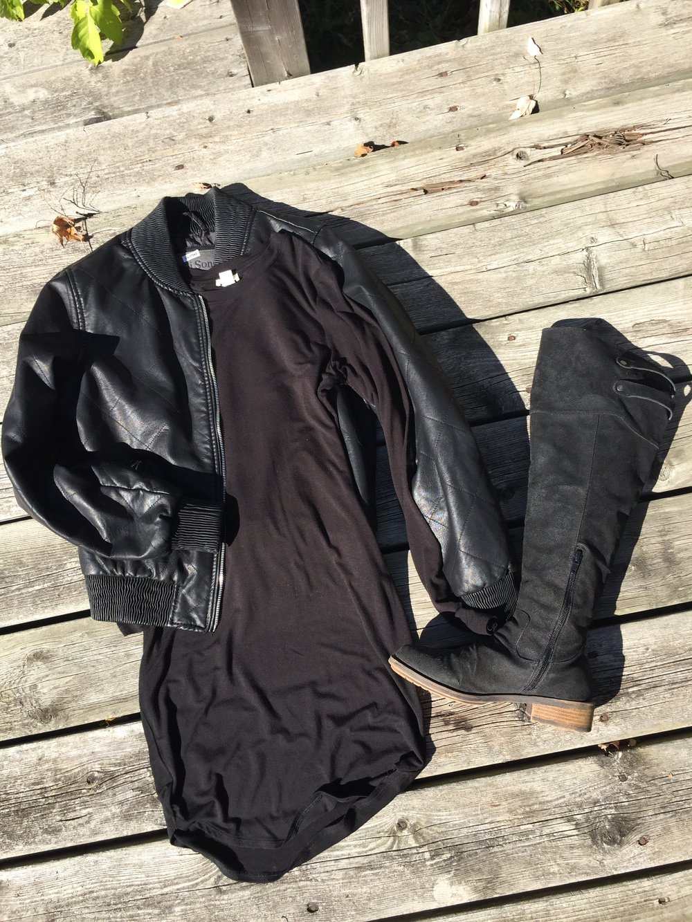 Black Long Sleeve Dress with Faux Leather Jacket and Black Knee High Boots