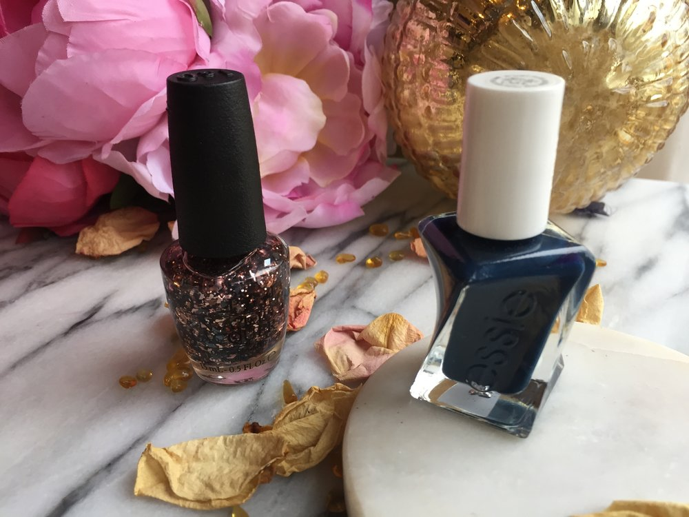 Navy and Copper Pairing |Essie Surrounded by Studs and OPI Two Wrongs Don't Make a Meteorite