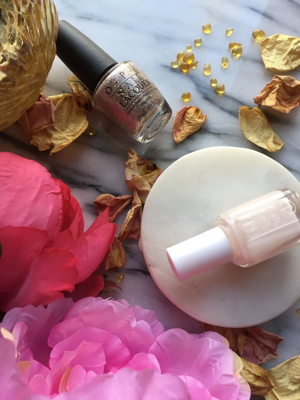 Neutral with Glitter Accent | Essie Limo-Scene and OPI Ce-less-tial is More