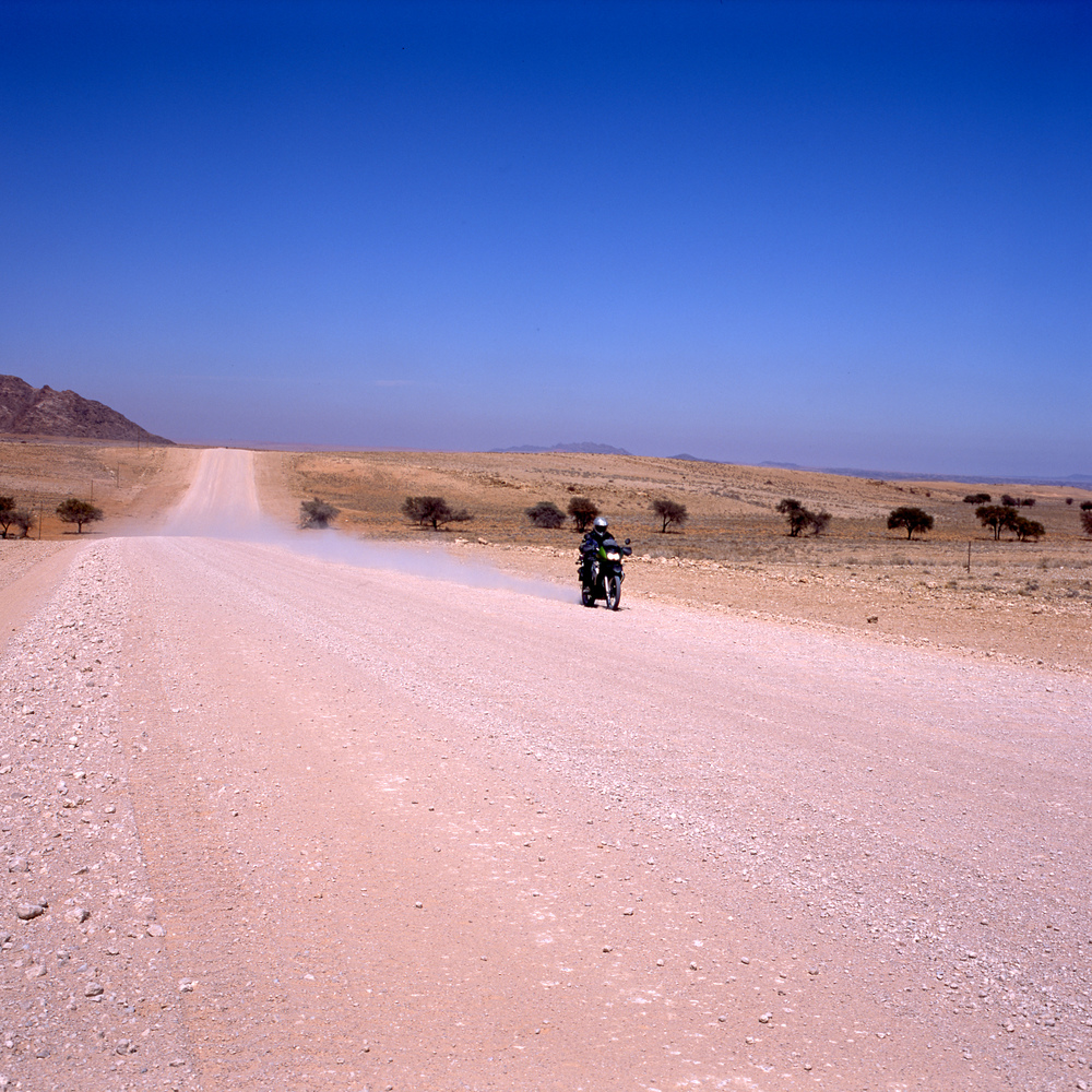 Biker in Namibia