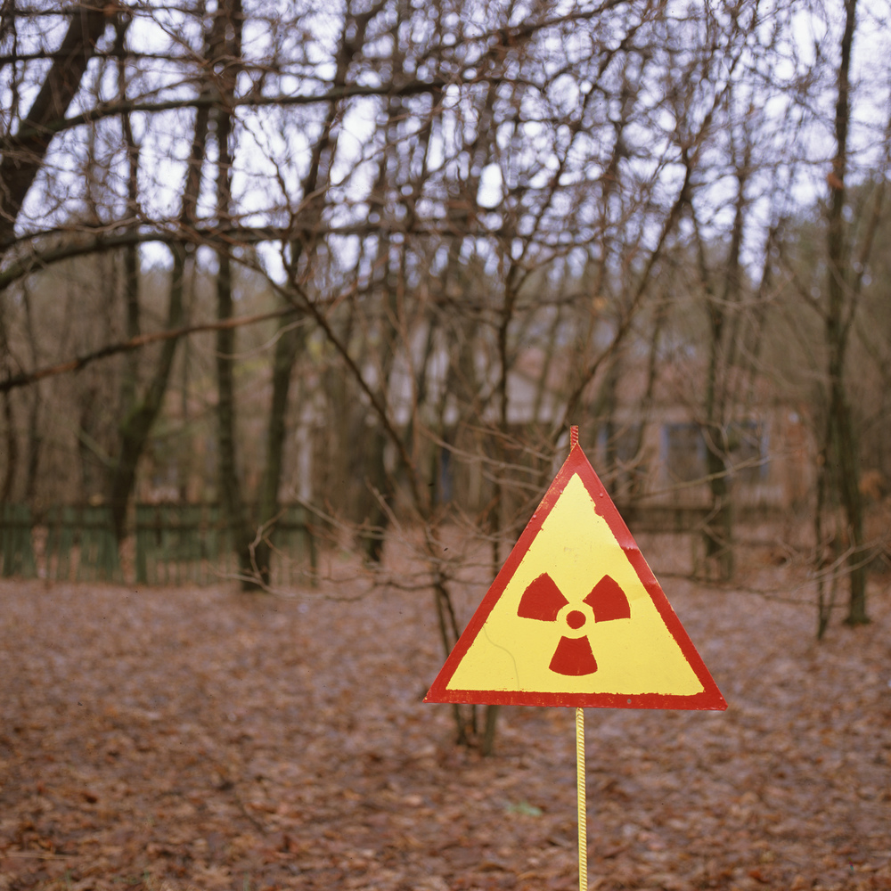 Radioactive Sign with the schoolhouse in the background Gf670 + Provia