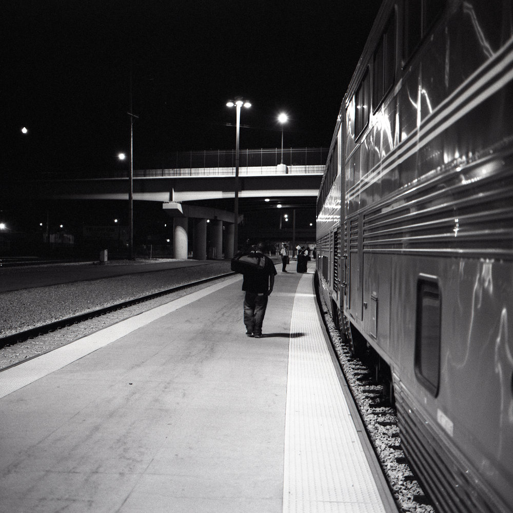 Boarding the train in Salt Lake City