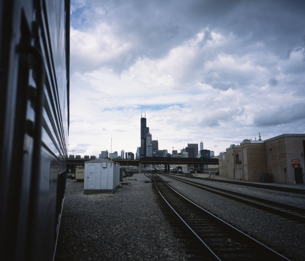 Backing into Chicago, the Sears Tower towering over everything