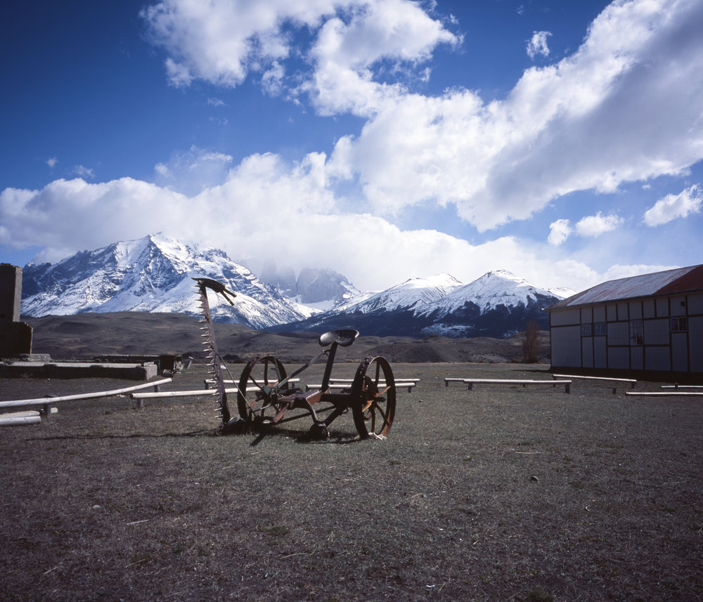 Somewhere near the entrance to the park. The mountains in the background have the three towers. GF670w - Provia 100f