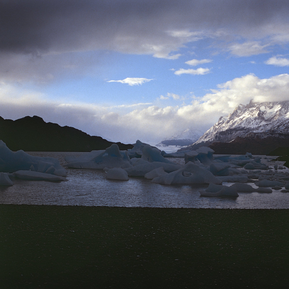 Icebergs on the beach on Lago Grey with Grey Glacier in the distance Fuji GF670 - Kodak E200